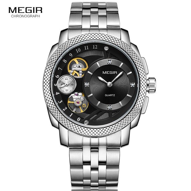 Megir Men's Steel Quartz Watches Analogue Wristwatch Relogio Clock Relojes Montres with Decorative Mechanical Movement 2091G-1