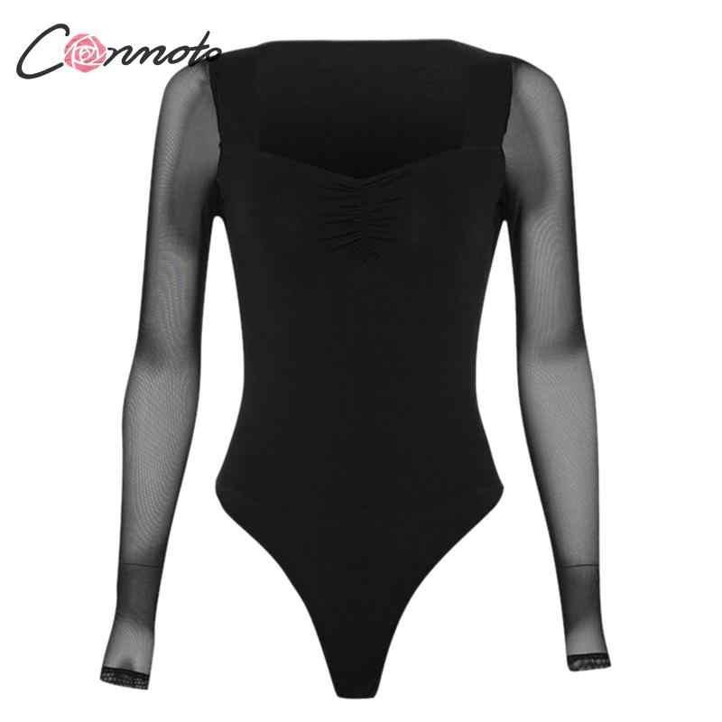 Conmoto женский сексуальный черный Боди 2019 осень зима квадратный воротник сетка боди с длинными рукавами Mujer шикарный тонкий облегающий костюм