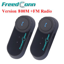 FreedConn Original Helmet Intercom Motorcycle Bluetooth Interphone Headset Helmet Intercom 800M Speakers With FM Radio