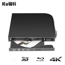 KuWFi 3D 4K Blu-Ray Player External DVD Drive for Laptop USB3.0 Type-A & Type-C interfaces Portable Slim Automatic Slot-Loading