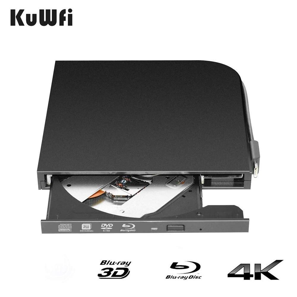 Lecteur DVD externe pour lecteur Blu-Ray KuWFi 3D 4 K pour ordinateur Portable USB3.0 interfaces type-a & type-c port automatique mince Portable-chargement