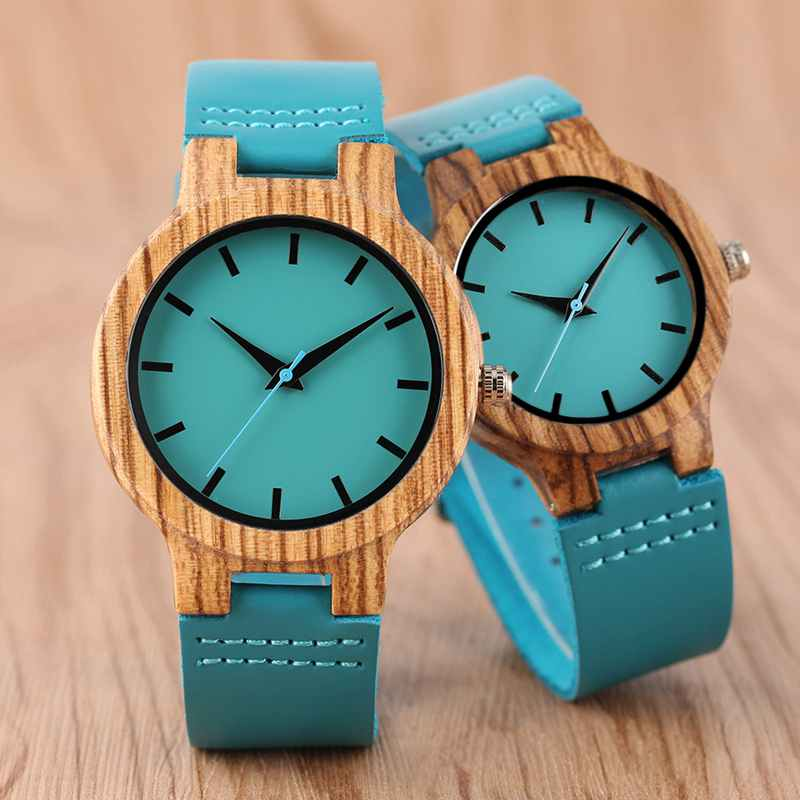 Women Wooden Quartz Watch Unique Blue Genuine Leather Strap Modern Woman Sport Nature Bamboo Wood Wristwatch reloj mujer