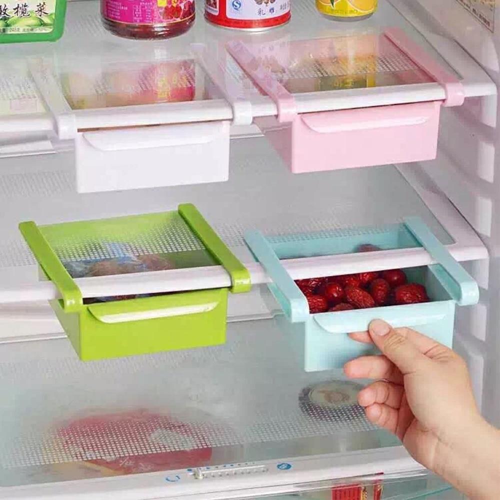 Caja de Almacenamiento Protector De Mesa Nevera Fruta Comida Del Sostenedor Del Estante Organizador De Cocina 4 Colores