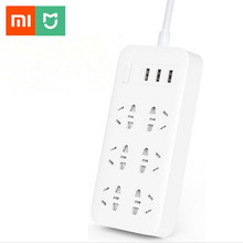 Original Xiaomi Mijia Mi Smart Power Strip 2A Fast Charging 3 USB Extension Socket Plug 6 Standard Sockets original xiaomi 3 usb charging hub mini power strip with 3 sockets standard plug