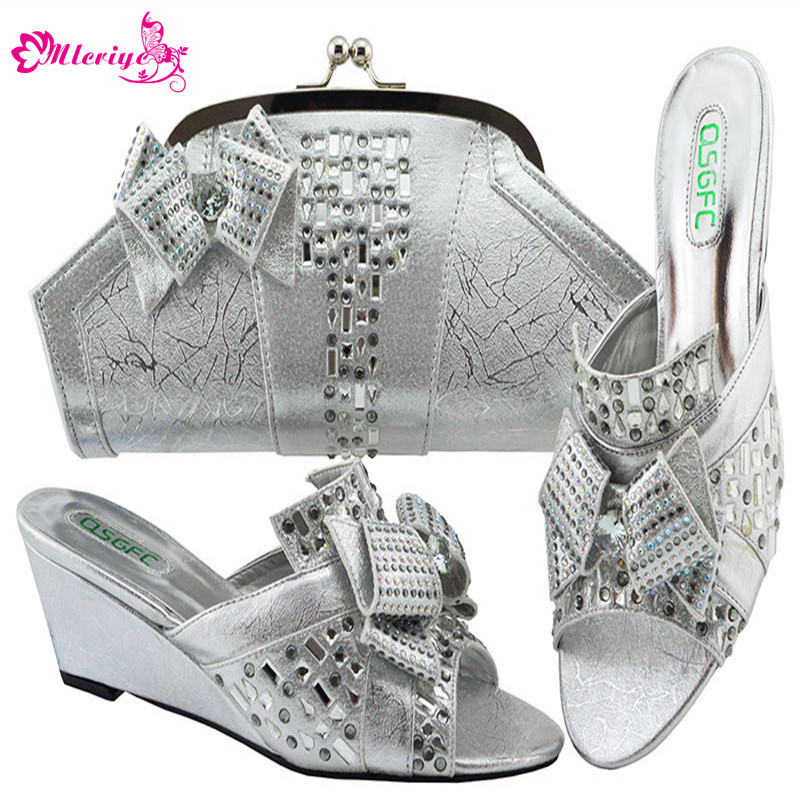 High Quality African Shoes and Bags Matching Set Nigeria Party Shoes and Bag Set New Sliver Color Shoes and Bag To Match Italian black color women high heels pumps african shoes and matching bags italian italy shoe and bag set to match for party 66077
