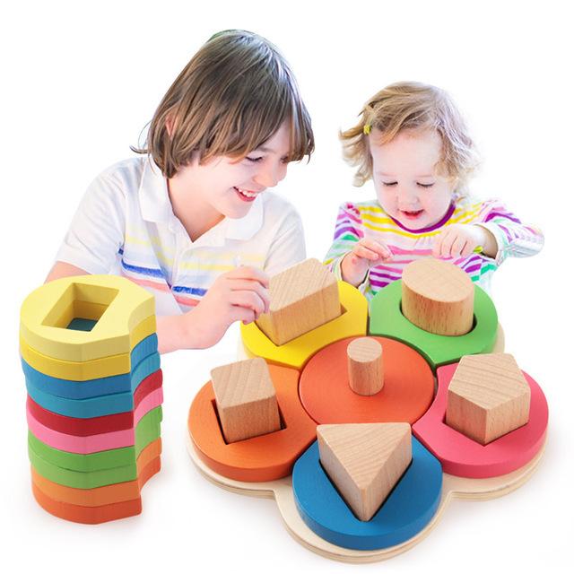 Edifício educacional de madeira Forma de Flor Placa De Madeira Placa de Reconhecimento de Cor Geométrica Bloco De Pilha Tipo Chunky Enigma Brinquedos