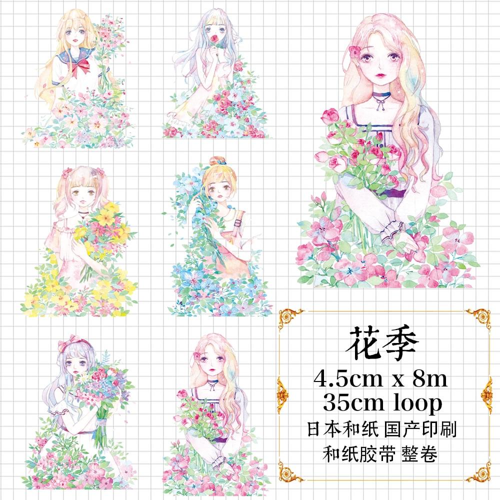 Goozu Beautiful Flower Girl DIY Washi Tape Loli Girls Floral Decorative Scrapbooking Sticker Deco Masking Tape for DIY Craft