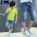 2016 new boys summer frayed jeans stretch seven pants trousers and a generation of fat boy stonewashed jeans