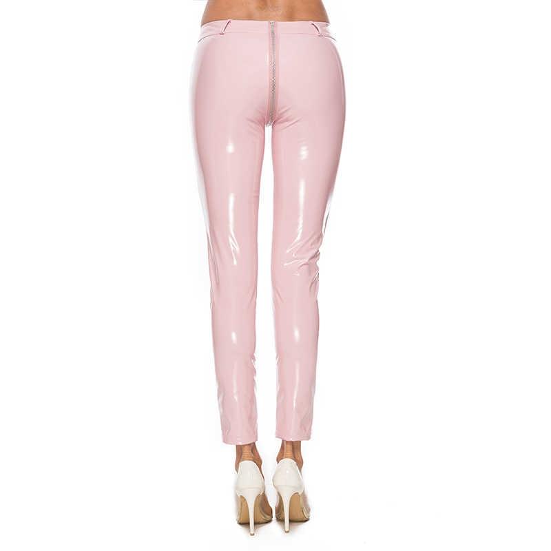 a6e02c67981cf9 ... Sexy Women PVC Vinyl Leather Liquid Wet Look Double Zippered Shiny Slim  Leggings Skinny Hot Pants ...