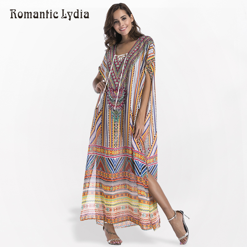 Women Summer Vintage Boho Maxi Dress Bohemian Decorations Floral Print Loose  Ethnic Robe Femme Split Long Beach Dress Plus Size 25b21ad33208