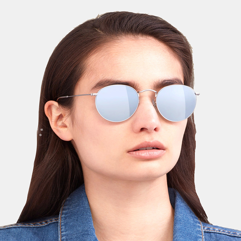 ADE WU Womens Sunglasses Brand Designer Polarized Round Vintage Retro Sun Glasses For Women Men Small Metal Frame Sunglass