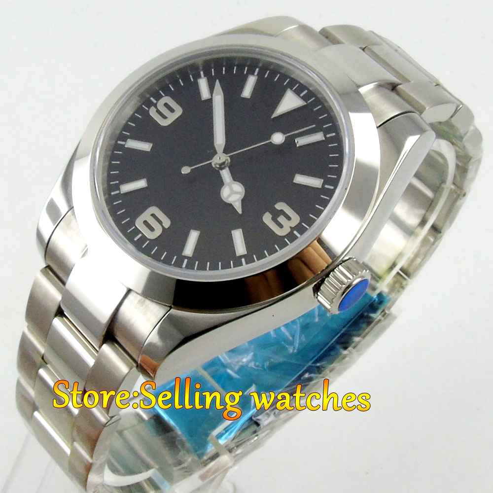 40mm parnis black dial sapphire glass automatic movement mens wrist watch 40mm parnis black dial luminous vintage sapphire automatic movement mens watch p143