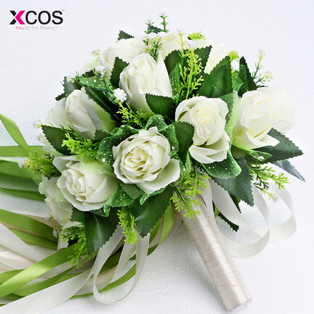Ramos de novia 2017 White Rose Bridal Bouquet Wedding Flowers ...