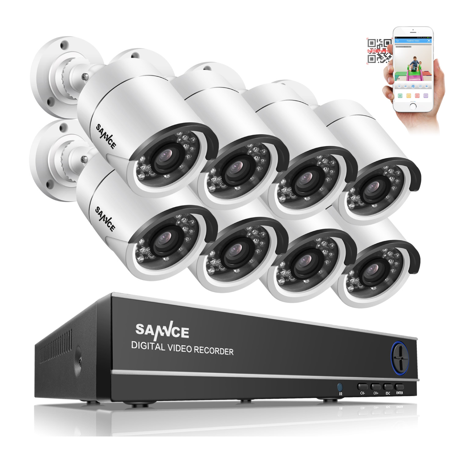SANNCE 8CH AHD DVR 8PCS 1.0MP 720P HD IR Weatherproof Outdoor CCTV Camera System Home Security Kit Surveillance Kits Email Alert sannce 16ch 1080n hd dvr ahd hdmi cctv 8 pcs outdoor ir cut home security camera system 16 channel surveillance kit 2tb hdd