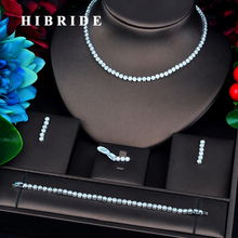 HIBRIDE New Flower Shape Gold Color Micro Cubic Zircon Pave Jewelry Sets For Women Bridal Wedding Accessories N 733