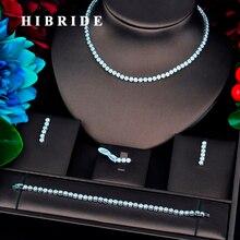 HIBRIDE nueva flor en forma de flor, Color dorado, Micro circonita cúbica, juegos de joyas para mujer, accesorios de boda para novia, N 733