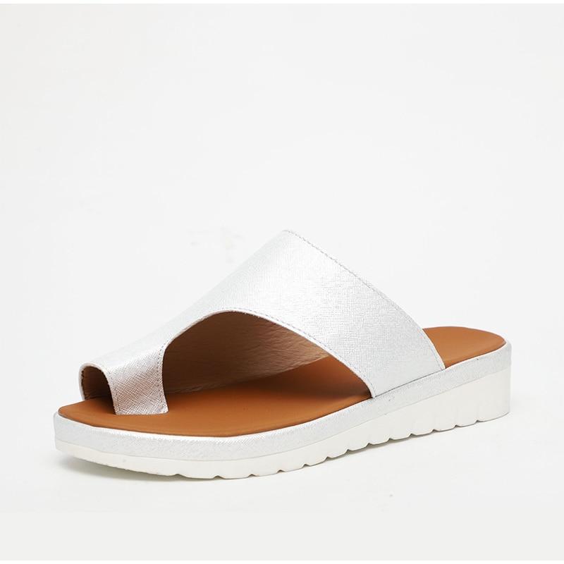 HTB13TPOaBKw3KVjSZFOq6yrDVXaU MCCKLE Women Comfy Plain Shoes Flat Platform Ladies Casual Big Toe Foot Correction Sandals Orthopedic Bunion Corrector Flip Flop