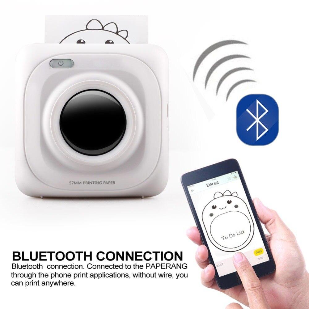 1 adet Taşınabilir Mini Bluetooth Kablosuz Mobil Makbuz Kağıdı Fotoğraf Yazıcısı
