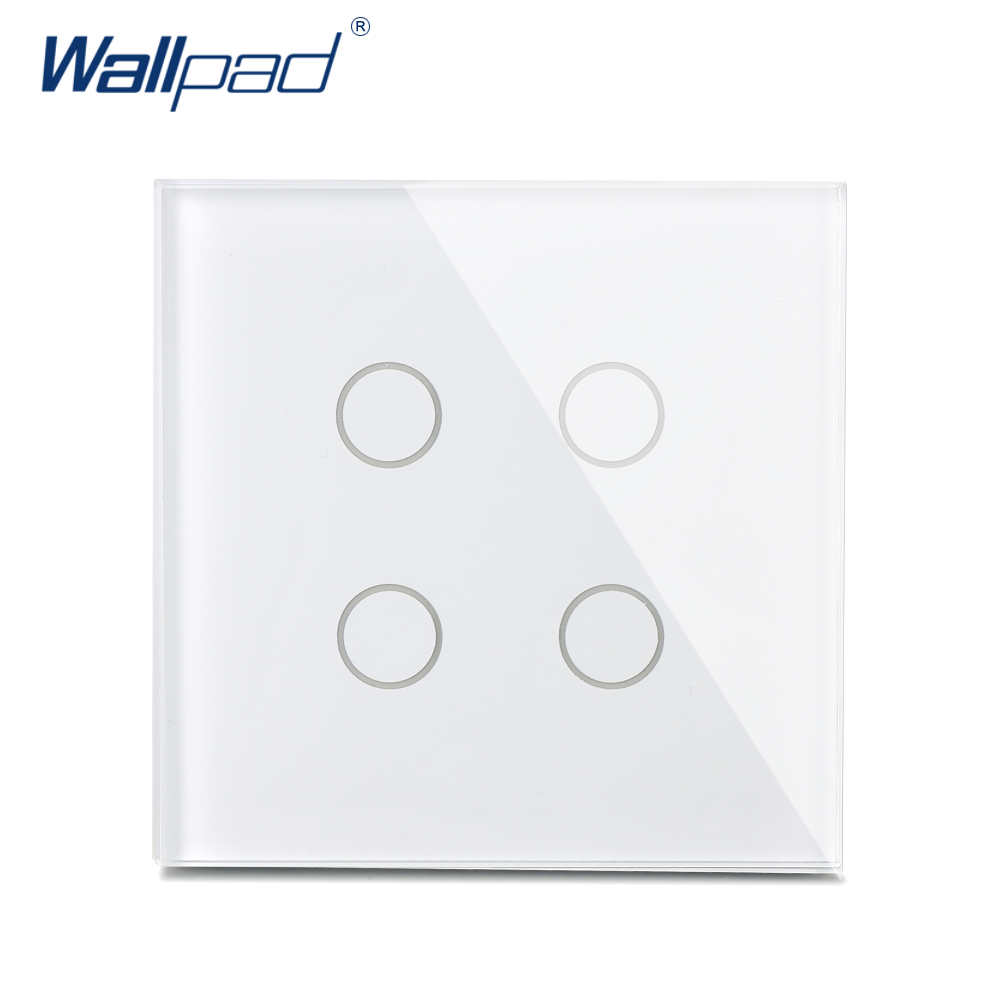 New Arrival 4 Gang 1 Way Wall Touch Switch Wallpad Luxury Crystal Glass Panel UK Switch Touch Interrupteur White/Black smart home us au wall touch switch white crystal glass panel 1 gang 1 way power light wall touch switch used for led waterproof