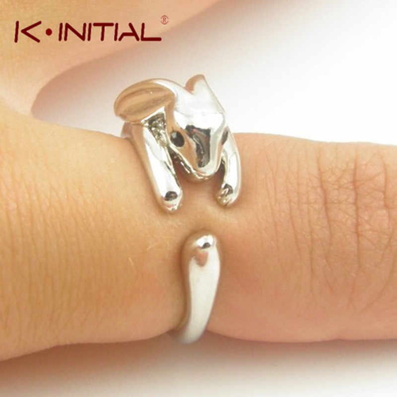 Kinitial 1PCS Adjustable Vintage Brass Tiny Bunny Animal Knuckle Ring Shiny Rabbit Rings Bijoux for Women Girls Jewelry Ring