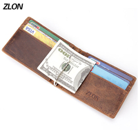 ZLON New Arrival Men Crazy Horse Leather Money Clips Genuine Leather 2 Folded Open Clamp For