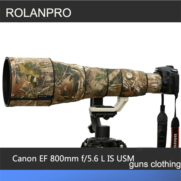 ROLANPRO Lens Clothing Camouflage Rain Cover for Canon EF 800mm F/5.6 L IS USM Lens Protective Sleeve Guns Protector rolanpro lens clothing camouflage rain cover canon ef 70 200mm f2 8 l is ii usm lens protection sleeve guns case dslr bag canon