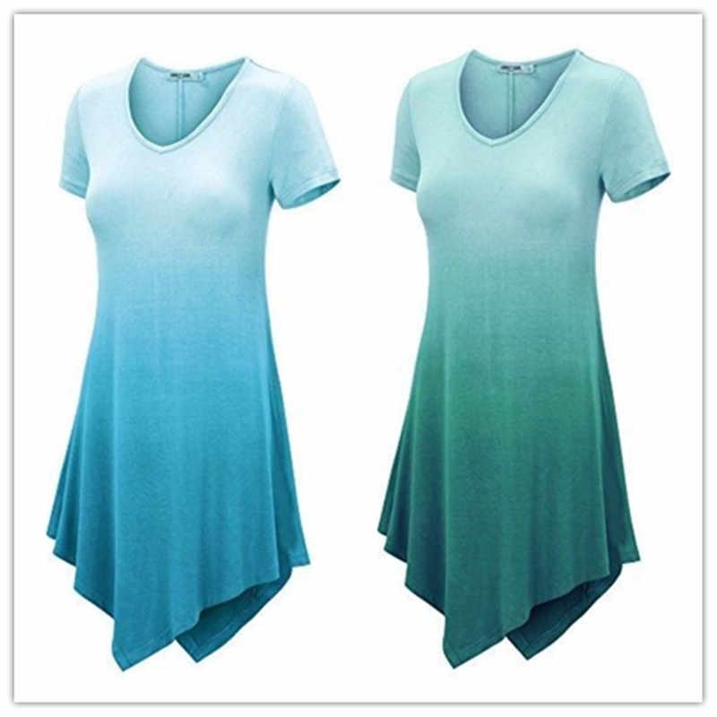 4XL 5XL платье большого размера 2019 повседневные летние платья асимметричное, с короткими рукавами градиентное платье с принтом женская одежда больших размеров