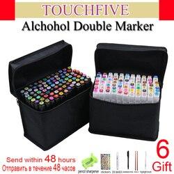Touchfive marcatori set 60/80/168 colori marcatore alcool Oleoso per il disegno manga della penna della Spazzola di Disegno di Animazione Arte forniture Marcador