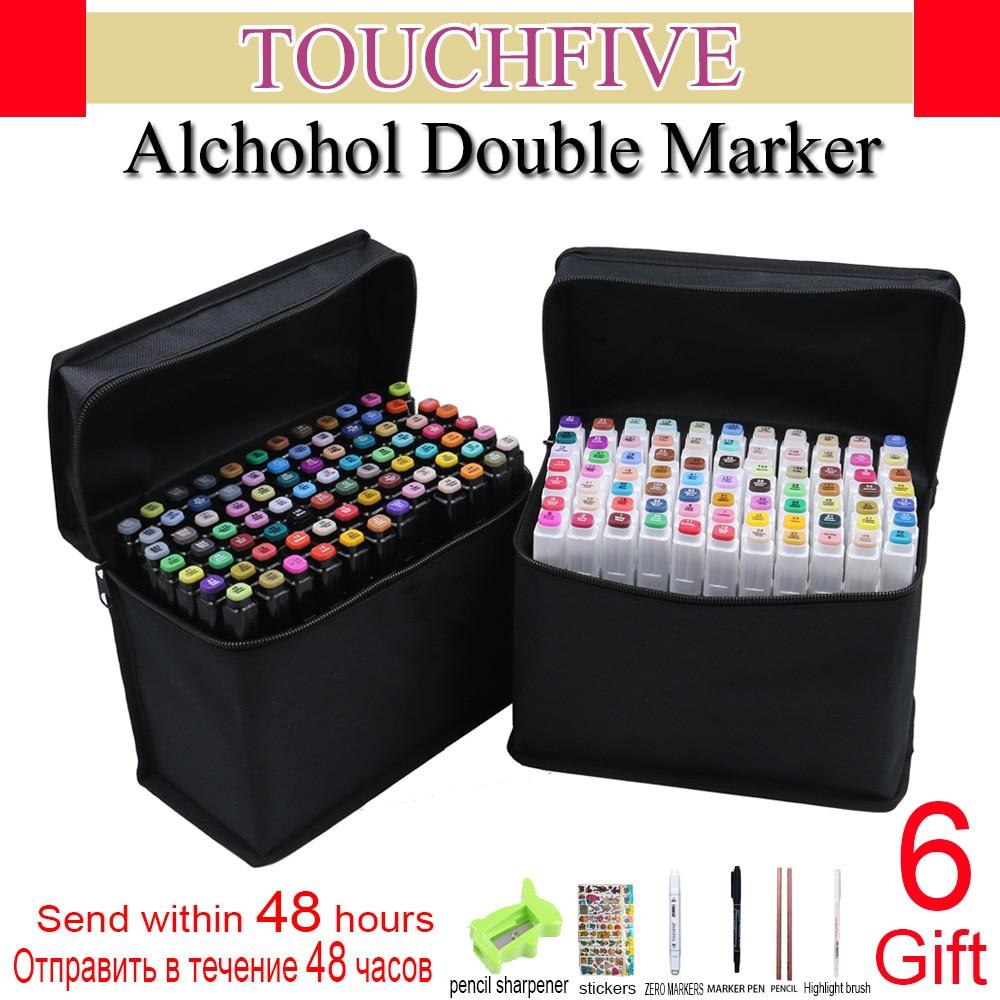 Touchfive marqueurs ensembles 60/80/168 couleurs marqueur d'alcool Gras pour dessin manga Brosse stylo Animation Conception Art fournitures Marcador