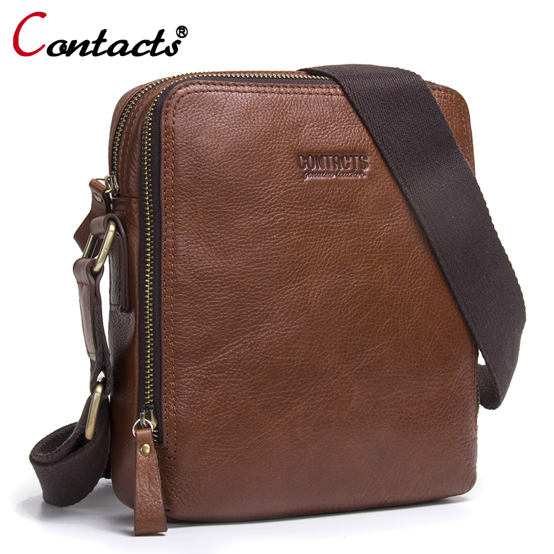 CONTACT'S Genuine Leather Men bag Shoulder Bags Handbags Large Capacity Male messenger bag Briefcases design Crossbody Bags men augus 100% genuine leather laptop bag fashional and classic crossbody bags leather for men large capacity leather bag 7185a