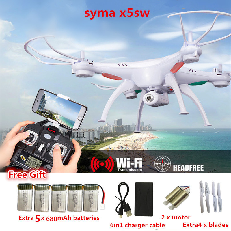 SYMA X5SW FPV Dron 2.4G 6-AxisDRONES Quadcopter Drone With Camera WIFI Real Time Video Remote Control RC Helicopter Quadrocopter syma x8w fpv rc quadcopter drone with wifi camera 2 4g 6axis dron syma x8c 2mp camera rtf rc helicopter with 2 battery vs x101
