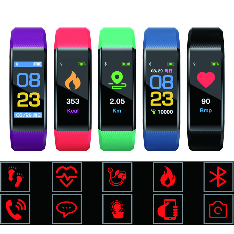 best 115 Plus Waterproof Smart Bracelet Sport Watch Heart Rate Fitness Tracker Wristbands For Android IOS Band