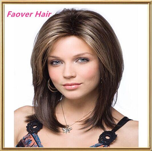 Top Synthetic Hair Medium Long Bob Wigs Natural Straight Light Brown