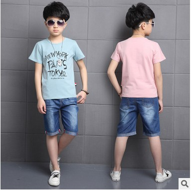 Kids boys short-sleeved suit 2017 summer children's cotton casual T-shirt big virgin piece denim shorts girls clothes 3-15 yrs 2 fly kids wholesale children clothes 2016 girls clothes summer korean girls cotton casual bat short sleeved floral shorts suit