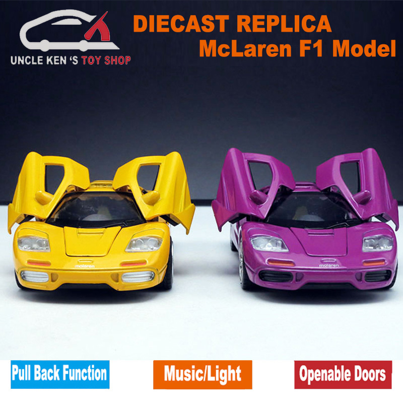 15cm Length Scale McLaren F1 Diecast Model Car Alloy Toys With Music Light Pull Back Function