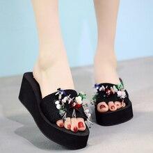 6CM/3CM High Heels Bling Women Sandals Summer Outside Shoes Platform Slides Casual Ladies Shoe Footwear