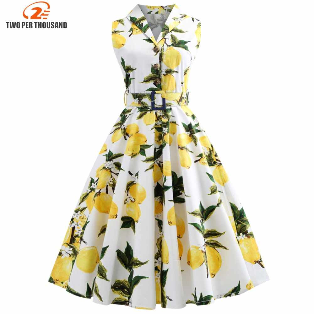 S-5XL Plus Ukuran Lemon Cetak Musim Panas Vintage Dress Turn Down Sabuk Tombol Retro Gaun Elegan Pesta Vestidos Kantor Gaun