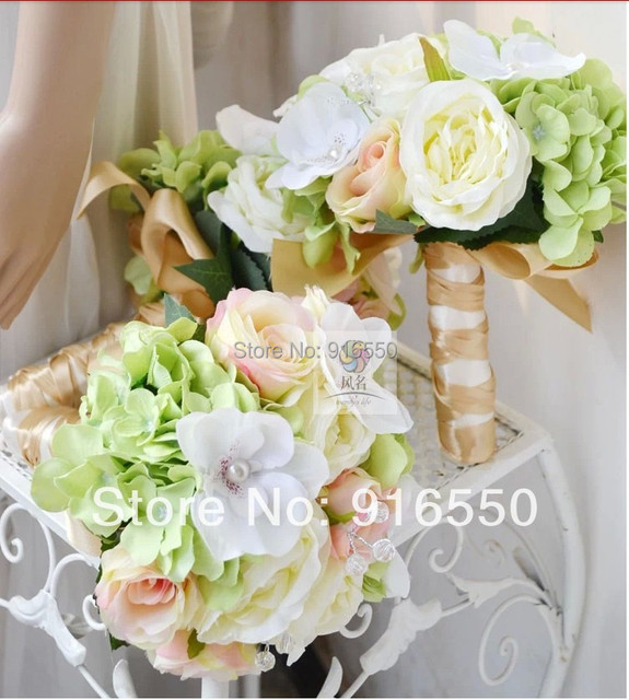 Silk Flower Rosehydrangeaorchid Rhinestone Whitegreen And Pink