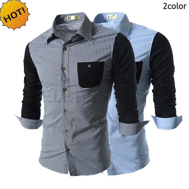 New 2016 Fashion Autumn hitting scene Men's leisure plaid grid shirt Patchwork front pocket Contracted atmosphere men's shirt