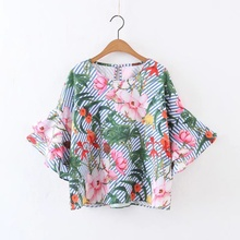 Women Summer Ruffles Loose Floral Shirts Short sleeve O neck Blouse European Style Flower Print Blusas LM58s
