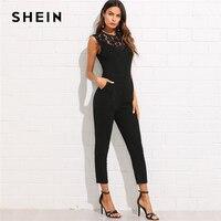 SHEIN Guipure Lace Yoke Solid Jumpsuit 2018 Plain Black Round Neck Sleeveless Button Pocket Clothing Women