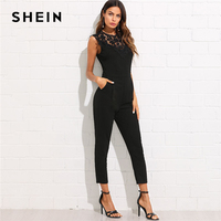SHEIN Guipure Lace Yoke Solid Jumpsuit 2018 Plain Black Round Neck Sleeveless Button Pocket Clothing Women Elegant Work Jumpsuit