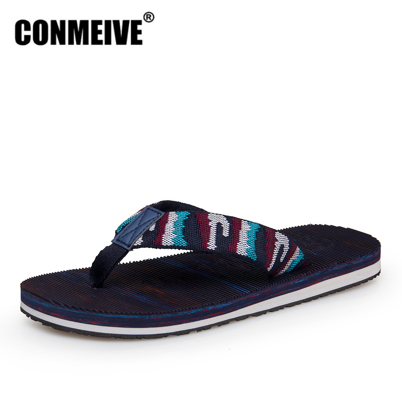 CONMEIVE 2018 Summer Fashion Men's Flip Flops Brand Rubber Anti-slip Male Beach Slippers Outside Sandals Good Quality Men Shoes