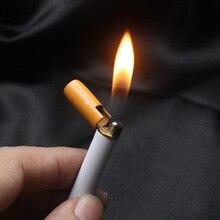 חם למכור Creative מיני קומפקטי Jet בוטאן מצית מתכת סיגריות בצורת מתנפח גז סיגריות אין גז