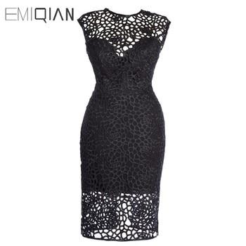 New O Neck Blackless Lace Short Evening Dress