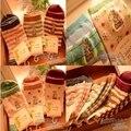 Corea del otoño y el invierno de la nueva manera de la historieta de las mujeres calcetines de color rayas salvaje de algodón lindo calcetines de las niñas caliente