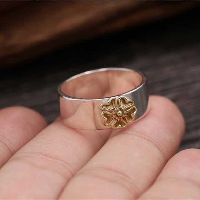 Элегантный годен Сакура кольцо Для мужчин Для женщин чистое серебро 925 Винтаж простой Стиль Японии Стиль кольцо подарок
