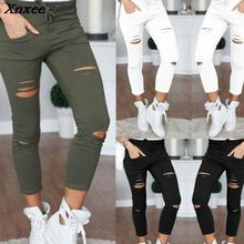 купить New 2018 Skinny Jeans Women Denim Pants Holes Destroyed Knee Pencil Pants Casual Trousers Black White Stretch Ripped Jeans Xnxee по цене 473.5 рублей