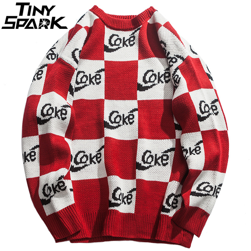 White Red Plaid Sweater Streetwear Men H