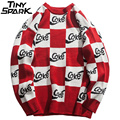 White Red Plaid Sweater Streetwear Men Hip Hop Knitted Sweater Pullover Checkered Autumn 2018 Cotton Retro Sweater Street Style